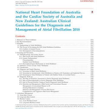 Australian Clinical Af Guidelines 2018 Heart Foundation