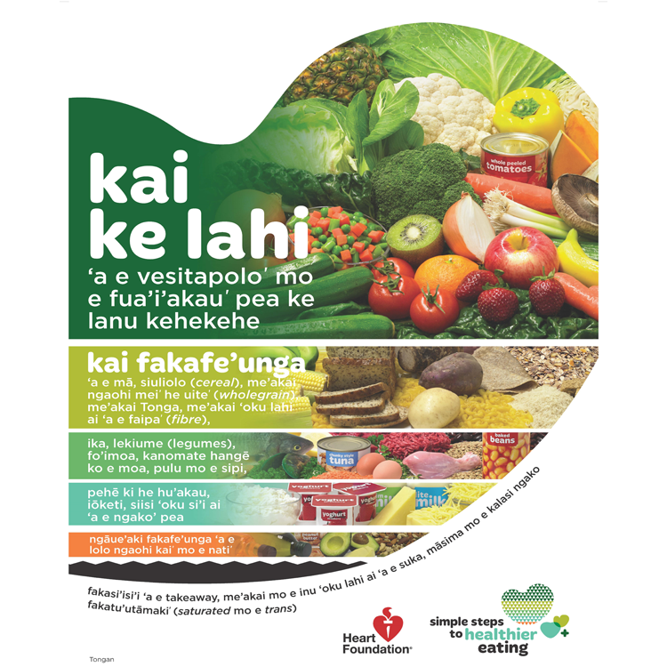 How To Eat For A Healthy Heart Tongan A3 Poster Heart Foundation