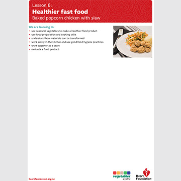healthier fast food lesson plan food tech heart foundation